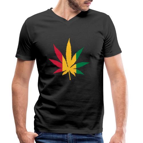 Cannabis Rastafari - Männer Bio-T-Shirt mit V-Ausschnitt von Stanley & Stella