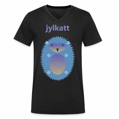 Blå Jylkatt Bornholmsk ord - Økologisk Stanley & Stella T-shirt med V-udskæring til herrer