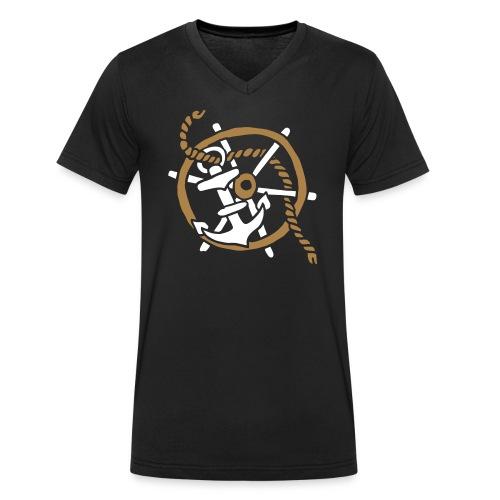 Anker Seemann Anchor Sailor Tattoo Oldschool SOS - Männer Bio-T-Shirt mit V-Ausschnitt von Stanley & Stella