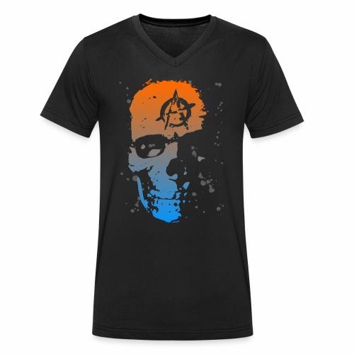 Anarchie Schädel Anarchy Skull Blau Orange Kleckse - Männer Bio-T-Shirt mit V-Ausschnitt von Stanley & Stella
