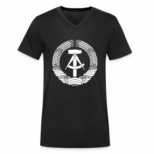DDR Coat of Arms (white) - Men's Organic V-Neck T-Shirt by Stanley & Stella