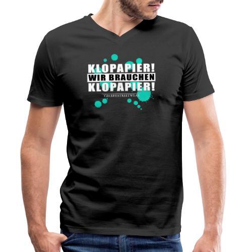Wir brauchen Klopapier - Männer Bio-T-Shirt mit V-Ausschnitt von Stanley & Stella
