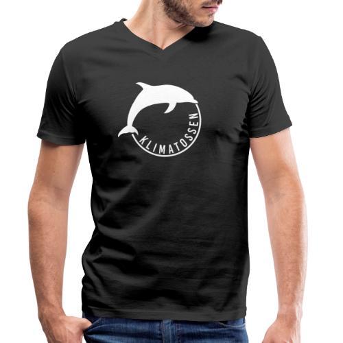 Klimatossen hvid logo - Økologisk Stanley & Stella T-shirt med V-udskæring til herrer