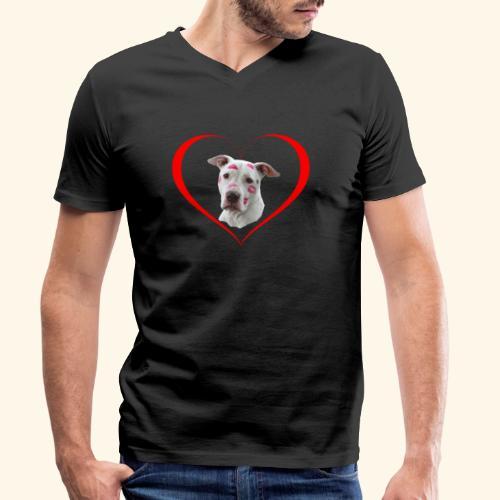 weisser Pit bull Herz Kuss - Männer Bio-T-Shirt mit V-Ausschnitt von Stanley & Stella