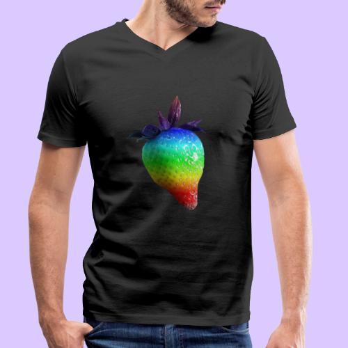 bunte Erdbeere in den Farben des Regenbogens - Männer Bio-T-Shirt mit V-Ausschnitt von Stanley & Stella