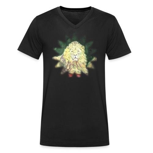 Lion star - Ekologiczna koszulka męska z dekoltem w serek Stanley & Stella