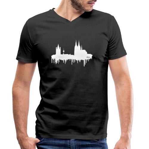 Skyline Köln - Weiß - Männer Bio-T-Shirt mit V-Ausschnitt von Stanley & Stella