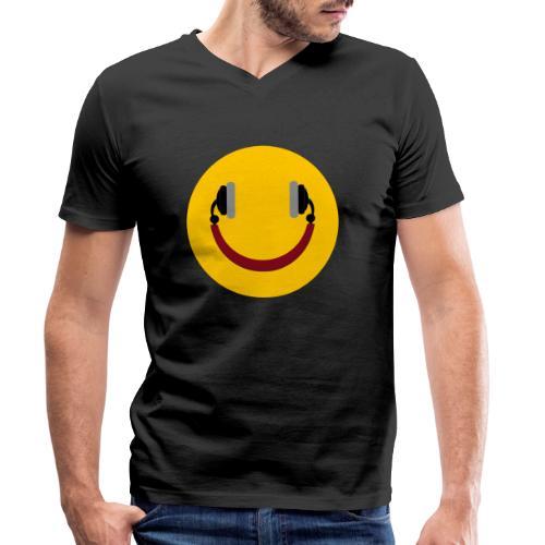 Smiling headphone - Økologisk Stanley & Stella T-shirt med V-udskæring til herrer