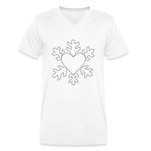 Flocon coeur 3D - T-shirt bio col V Stanley & Stella Homme