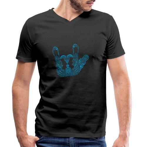 ILY Handzeichen Mandala - Männer Bio-T-Shirt mit V-Ausschnitt von Stanley & Stella