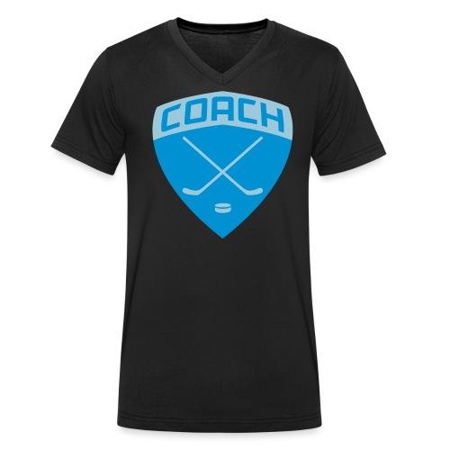 ice-hockey-coach-blue_vec - Men's Organic V-Neck T-Shirt by Stanley & Stella