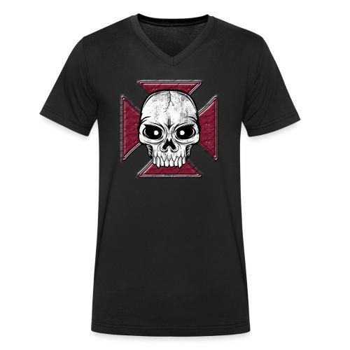 20-07 Iron Cross Skull, pääkallo tekstiilit ym. - Stanley & Stellan miesten luomupikeepaita