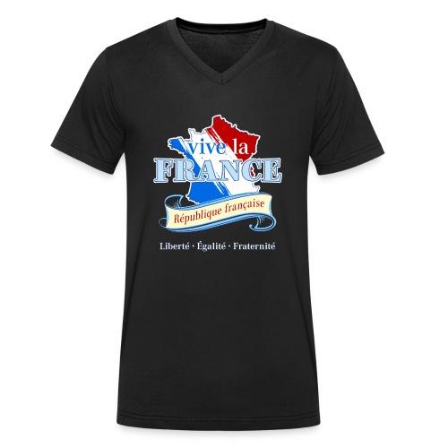 vive la France Frankreich République Française - Men's Organic V-Neck T-Shirt by Stanley & Stella