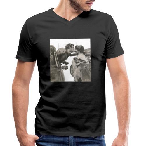 Travel fondo blanco - Camiseta ecológica hombre con cuello de pico de Stanley & Stella