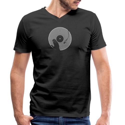 GIRADISCHI T SHIRT NERA - T-shirt ecologica da uomo con scollo a V di Stanley & Stella