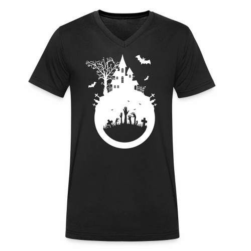 Halloween Design - Das Spukhaus - Männer Bio-T-Shirt mit V-Ausschnitt von Stanley & Stella