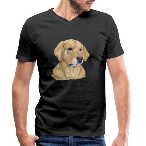 labrador yellow - pastel - Økologisk Stanley & Stella T-shirt med V-udskæring til herrer