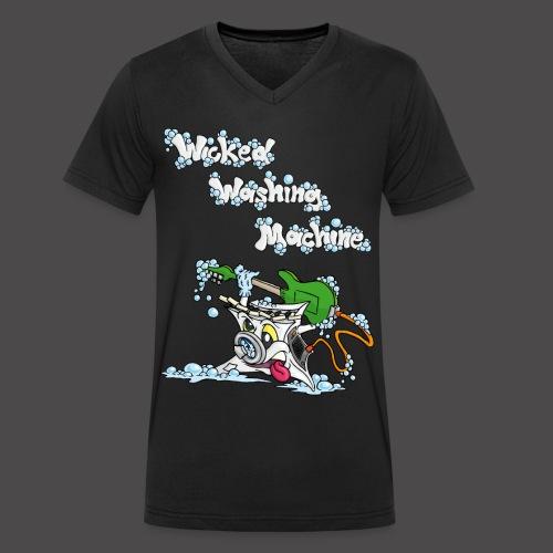 Wicked Washing Machine Cartoon and Logo - Mannen bio T-shirt met V-hals van Stanley & Stella