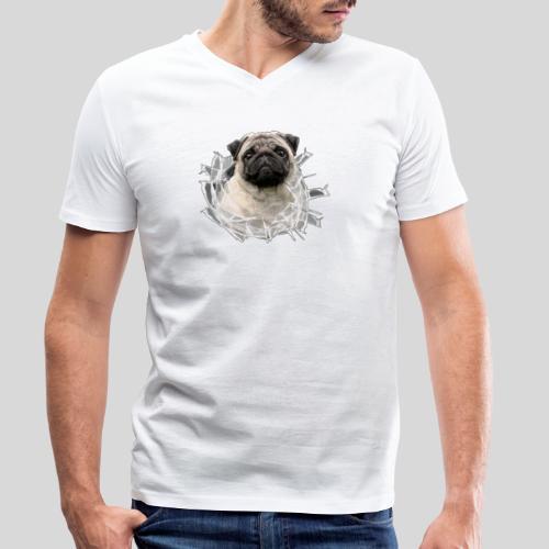 Mops Beige im Glasloch - Männer Bio-T-Shirt mit V-Ausschnitt von Stanley & Stella