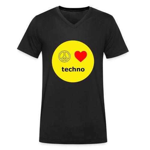 paz amor techno - Camiseta ecológica hombre con cuello de pico de Stanley & Stella