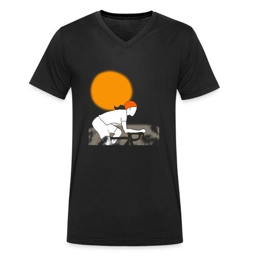 female cyclist - Mannen bio T-shirt met V-hals van Stanley & Stella
