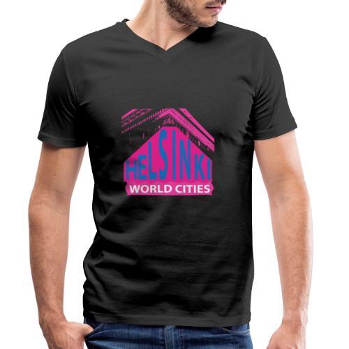 Helsinki2 pink2 - Men's Organic V-Neck T-Shirt by Stanley & Stella