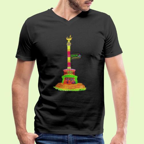 DIE Siegessäule / BerlinLightShow / PopArt - Männer Bio-T-Shirt mit V-Ausschnitt von Stanley & Stella