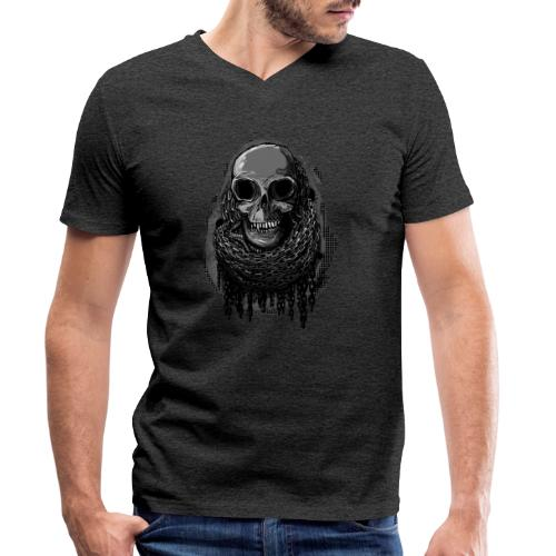Skull in Chains - Men's Organic V-Neck T-Shirt by Stanley & Stella