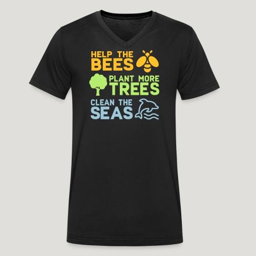 Help the Bees Plant More Trees Hilf den Bienen - Männer Bio-T-Shirt mit V-Ausschnitt von Stanley & Stella