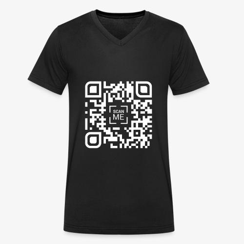 QR code (white) - Men's Organic V-Neck T-Shirt by Stanley & Stella
