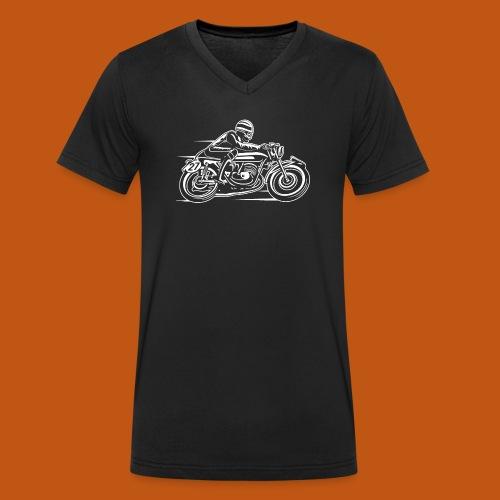 Cafe Racer Motorrad 03_weiß - Männer Bio-T-Shirt mit V-Ausschnitt von Stanley & Stella