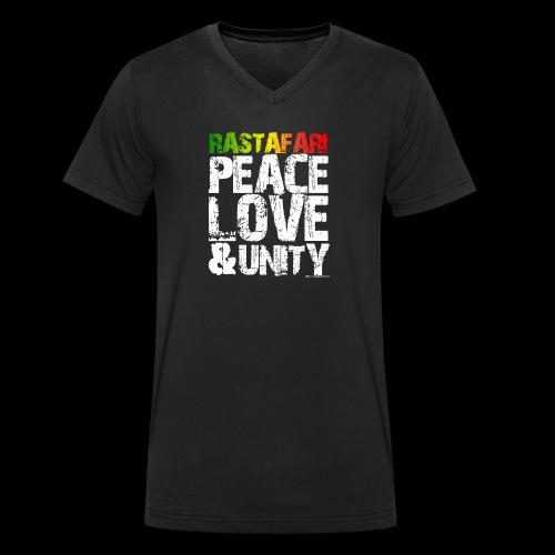 RASTAFARI - PEACE LOVE & UNITY - Männer Bio-T-Shirt mit V-Ausschnitt von Stanley & Stella