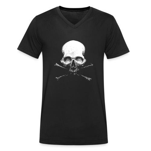 Old Skull - T-shirt ecologica da uomo con scollo a V di Stanley & Stella