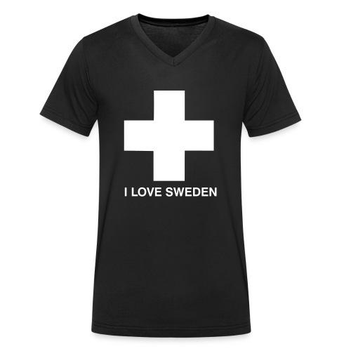 I LOVE SWEDEN - Männer Bio-T-Shirt mit V-Ausschnitt von Stanley & Stella