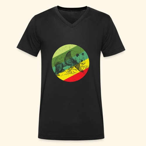 Chinese Panda Retro - Men's Organic V-Neck T-Shirt by Stanley & Stella