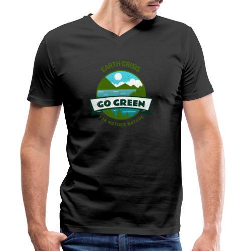 Earth Crisis Go Green For Mother Nature - Mannen bio T-shirt met V-hals van Stanley & Stella