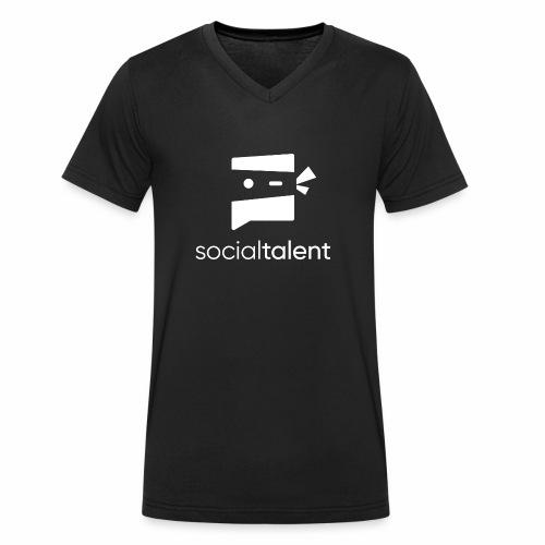 white social talent logo centre - Men's Organic V-Neck T-Shirt by Stanley & Stella