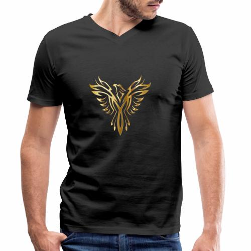 Złoty fenix - Ekologiczna koszulka męska z dekoltem w serek Stanley & Stella