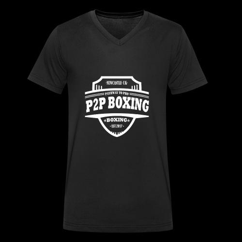 P2P Boxing White Logo - Men's Organic V-Neck T-Shirt by Stanley & Stella