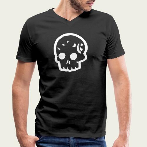 Skull logo whi - Camiseta ecológica hombre con cuello de pico de Stanley & Stella