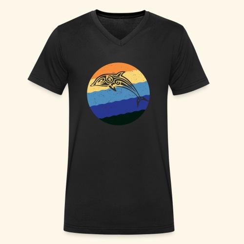 Greek Dolphin Retro - Men's Organic V-Neck T-Shirt by Stanley & Stella