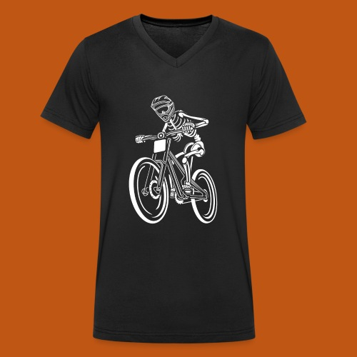 BMX / Mountain Biker 04_weiß - Männer Bio-T-Shirt mit V-Ausschnitt von Stanley & Stella