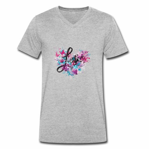 Love with Heart - Men's Organic V-Neck T-Shirt by Stanley & Stella