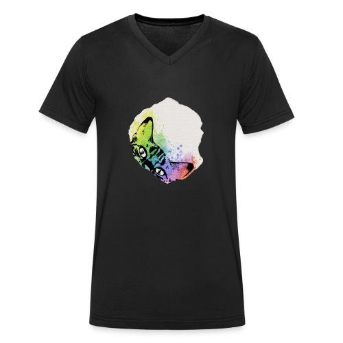 Katze Aquarell Loch - Männer Bio-T-Shirt mit V-Ausschnitt von Stanley & Stella