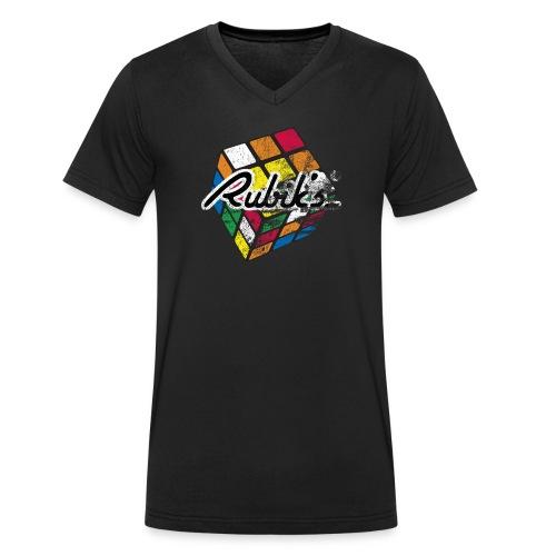 Rubik's Cube Colourful Retro Magic Cube - Ekologisk T-shirt med V-ringning herr från Stanley & Stella
