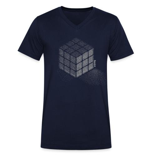Rubik's Cube Stippling Dotted Cube - Men's Organic V-Neck T-Shirt by Stanley & Stella