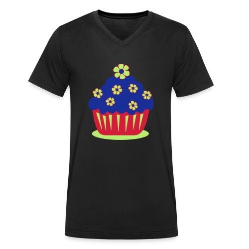 Blumencupcake - Männer Bio-T-Shirt mit V-Ausschnitt von Stanley & Stella