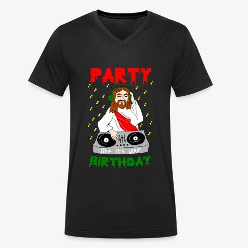 dj jesus birthday party ugly christmas - Männer Bio-T-Shirt mit V-Ausschnitt von Stanley & Stella