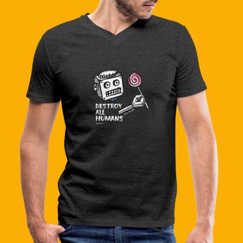 Dat Robot: Destroy Series Candy Dark - Mannen bio T-shirt met V-hals van Stanley & Stella