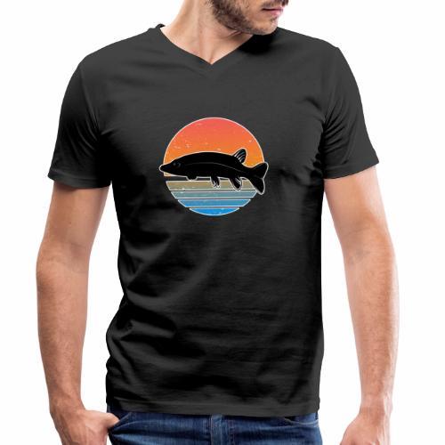 Retro Hecht Angeln Fisch Wurm Raubfisch Shirt - Männer Bio-T-Shirt mit V-Ausschnitt von Stanley & Stella